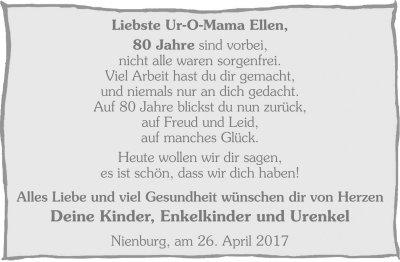 Zeitungsanzeige Zum 80 Geburtstag